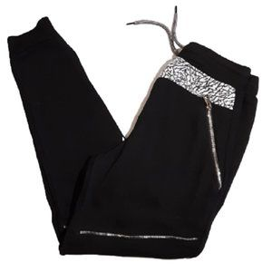 Old Skool Boys Med Black Zipper Bling Sweatpants